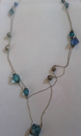 Long double strand blue bead necklace (Code 3144)